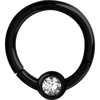 Steel Black 1.2x07  jew. Flat Disc Hinged Segment Ring (TFJHBK)