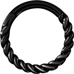 Hinged Ring 1.2x08mm Twisted wire, PVD Black Steel