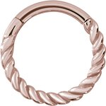 Hinged Ring 1.2mm Twisted wire, PVD Rosegold Steel