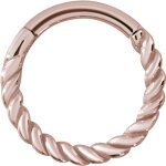 Hinged Ring 1.2x08mm Twisted wire, PVD Rosegold Steel