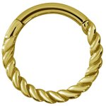Hinged Ring 1.2x10mm Twisted wire, PVD Gold Steel