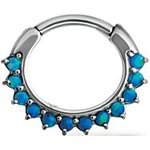 Stahl Septum Clicker 1.2mm mit 12 Opal, prong set, curved...