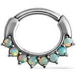 Steel Septum Clicker 1.2mm with 8 Opal, prong set, curved...