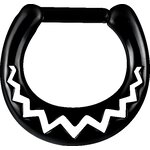 Black Steel Casting Septum Clicker 15 (African Pattern)...