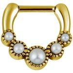 Gold Stahl Tribal Septum Clicker mit Swarovski® Perlen
