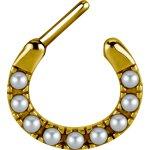 Gold Stahl Tribal Septum Clicker mit 7x Swarovski® Perlen