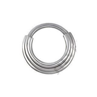 Titan 1.2mm Hinged Ring (3 Ringe Concave Shape) - handpoliert