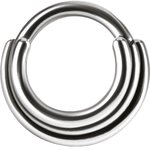 Titanium 1.2mm Hinged Ring (3 Rings Concave Shape) -...