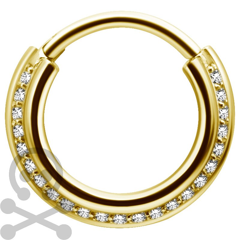 Gold PVD Triple Slanted Hinged Ring 1.2mm mit Cubic Zirconia
