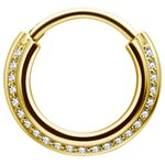 Gold PVD Triple Slanted Hinged Ring 1.2mm w Cubic Zirconia