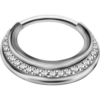 Triple Slanted Hinged Ring 1.2mm mit Cubic Zirconia - handpoliert