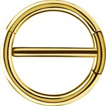 Gold Steel 1.6mm, Double Hinge Nipple Clicker Ring
