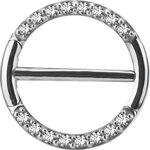Stahl 1.6mm, Nipple Clicker Ring w pave set Swarovski®...