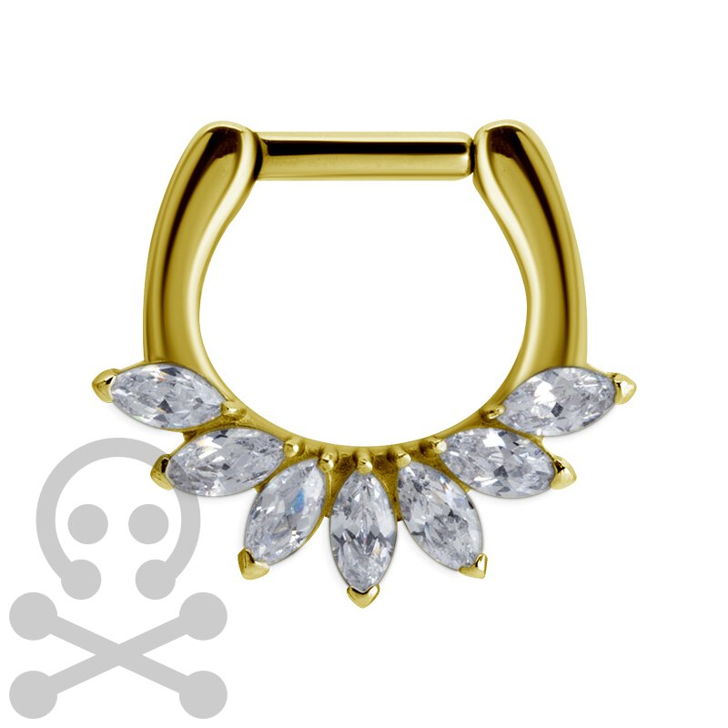 Gold Stahl Septum mit Prong Setting Cubic Zirconia...