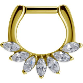 Gold Stahl Septum mit Prong Setting Cubic Zirconia Marquise, 24K Gold