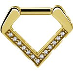 Gold Stahl V Shape Septum set w Cubic Zirconia, 24K Gold