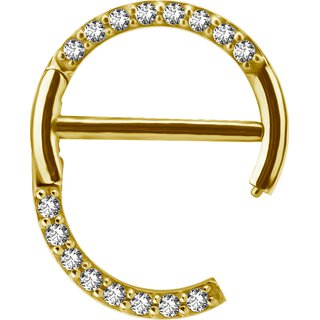 Gold Stahl 1.6mm, Nipple Clicker Ring w pave set Swarovski® Zirconia