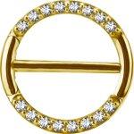 Gold Stahl 1.6mm, Nipple Clicker Ring w pave set Premium...