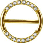 Gold Stahl 1.6mm, Nipple Clicker Ring w pave set...
