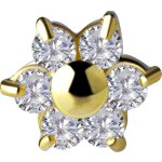 18K Gold Attachm. #08 Jew. Flower mit Premium Zirconia...