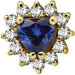 18K Gold Internal Attachm. #15 mit Herzschnitt Royal Blue...