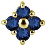 18K Gold Internal Attachm. #22 mit Royal Blue Topaz für...