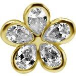 18K Gold Internal Attachm. #23 mit Swarovski® Zirkonia...