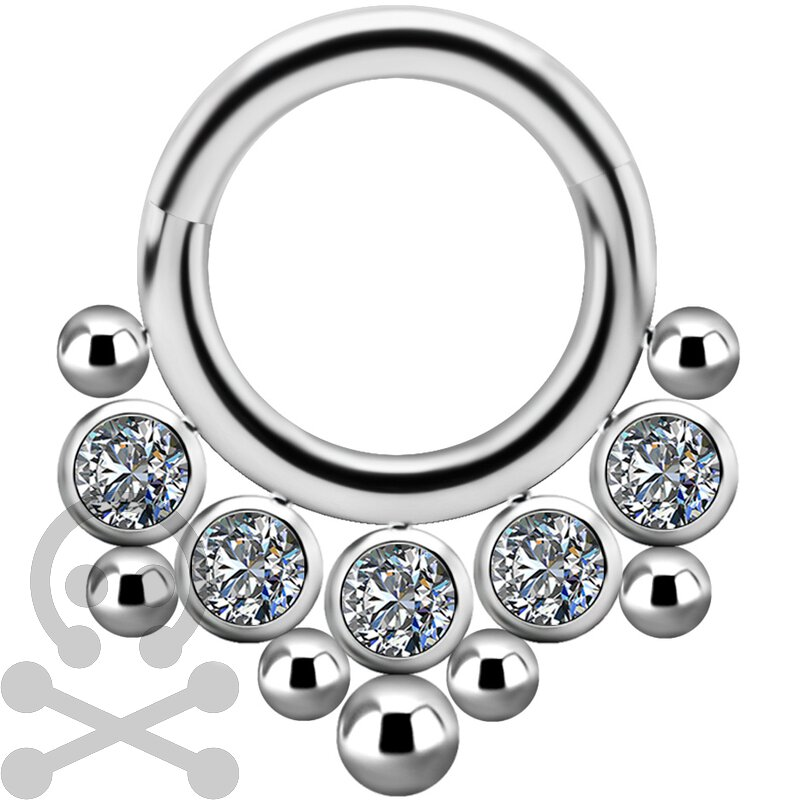 Titan 1.2mm Jew. Clicker mit Swarovski® Zirconia #06
