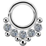 Titanium 1.2mm Jew. Clicker w Swarovski® Zirconia #06