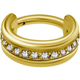 Triple Hinged 1.2mm Ring mit Cubic Zirconia Setting - handpoliert, PVD Gold Stahl