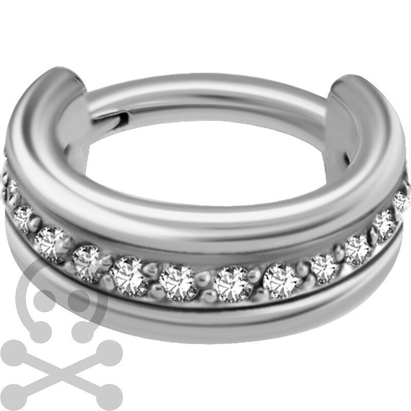 Triple Hinged 1.2mm Ring mit Cubic Zirconia Setting -...