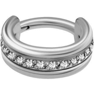 Triple Hinged 1.2mm Ring mit Cubic Zirconia Setting - handpoliert, SS316L Stahl