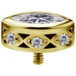 18K Gold Internal Attachm. #27 mit Swarovski® Zirkonia...