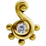 18K Gold Internal Attachm. #48 mit Swarovski® Zirconia...