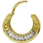 Gold Stahl Earhoops mit Cubic Zirconia Baguette (Paar)