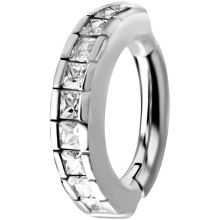 Nickelfrei Belly Hinged Oval Ring #03 1.6mm, mit Cubic Zirconia - handpoliert