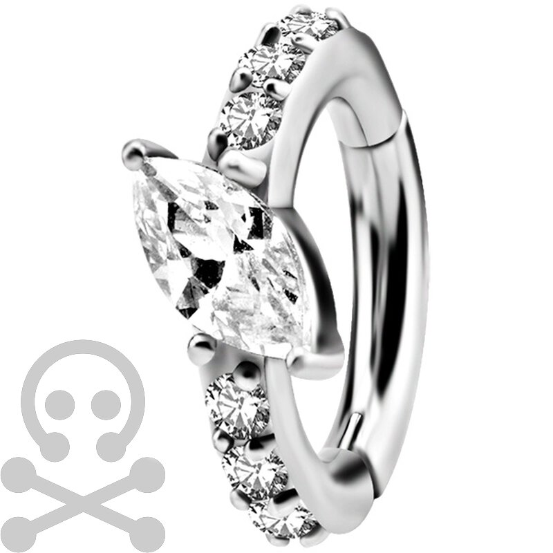 Nickelfrei Belly Hinged Oval Ring #05 1.6mm, mit Cubic...