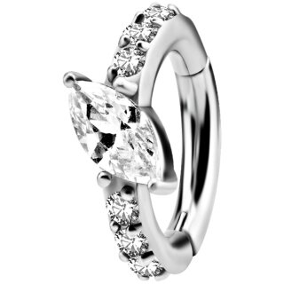 Nickelfrei Belly Hinged Oval Ring #05 1.6mm, mit Cubic Zirconia - handpoliert
