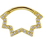 18K Gold Jew. Septum and Daith Ring/Clicker #03 1.2mm w...