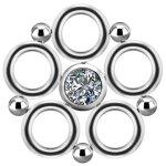 Titanium Cluster Charm #02 w Swarovski® Zirconia for...