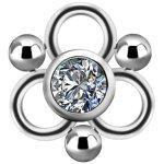 Titanium Cluster Charm #03 w Swarovski® Zirconia for...