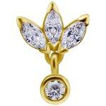 18K Gold Internal Attachm. #59 w Swarovski® Zirconia for...