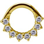 18K Gold Jew. Hinged Clicker 1.2mm, Premium Zirconia...