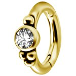 Nickelfree Belly Hinged Oval Ring #04 Golden PVD 1.6mm, w...