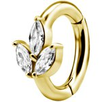 Nickelfree Belly Hinged Oval Ring #06 Golden PVD 1.6mm, w...