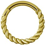Hinged Ring 1.0/1.2mm Twisted wire, PVD 24k Gold Steel