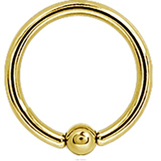 Ball Closure Ring Gold 1.0mm Ball, Stahl