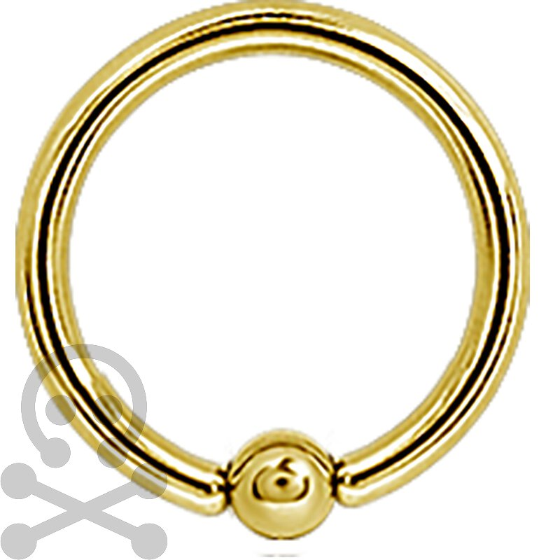 Ball Closure Ring Gold 1.2mm Ball, Stahl