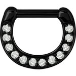 Stahl Jew. Septum Clicker 1.6mm 12x  , black coated (nur...