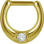 Jew. Steel Septum Clicker Gold #03 1.6mm (as long as on...